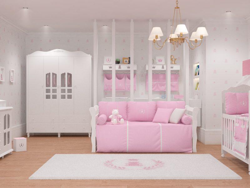 quarto de bebê realeza rosa premium