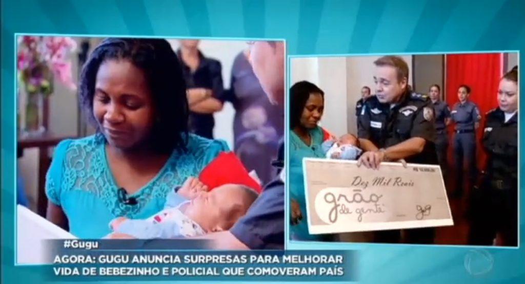 História do bebê amamentado por PM é destaque no Programa do Gugu. Grão de Gente faz doação para família