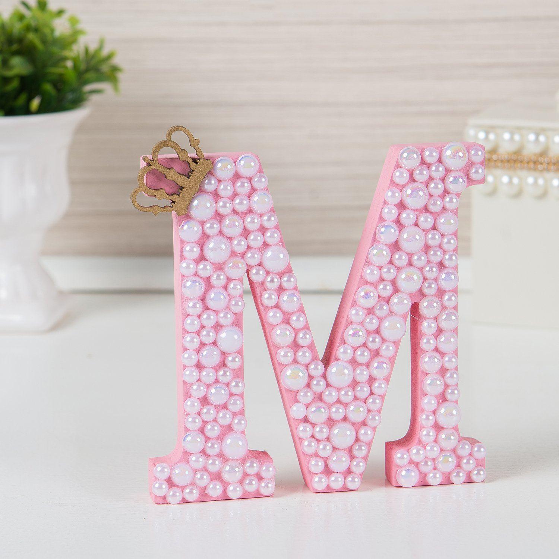 letras decorativas para quarto de beb letra em mdf rosa - Letras Decorativas
