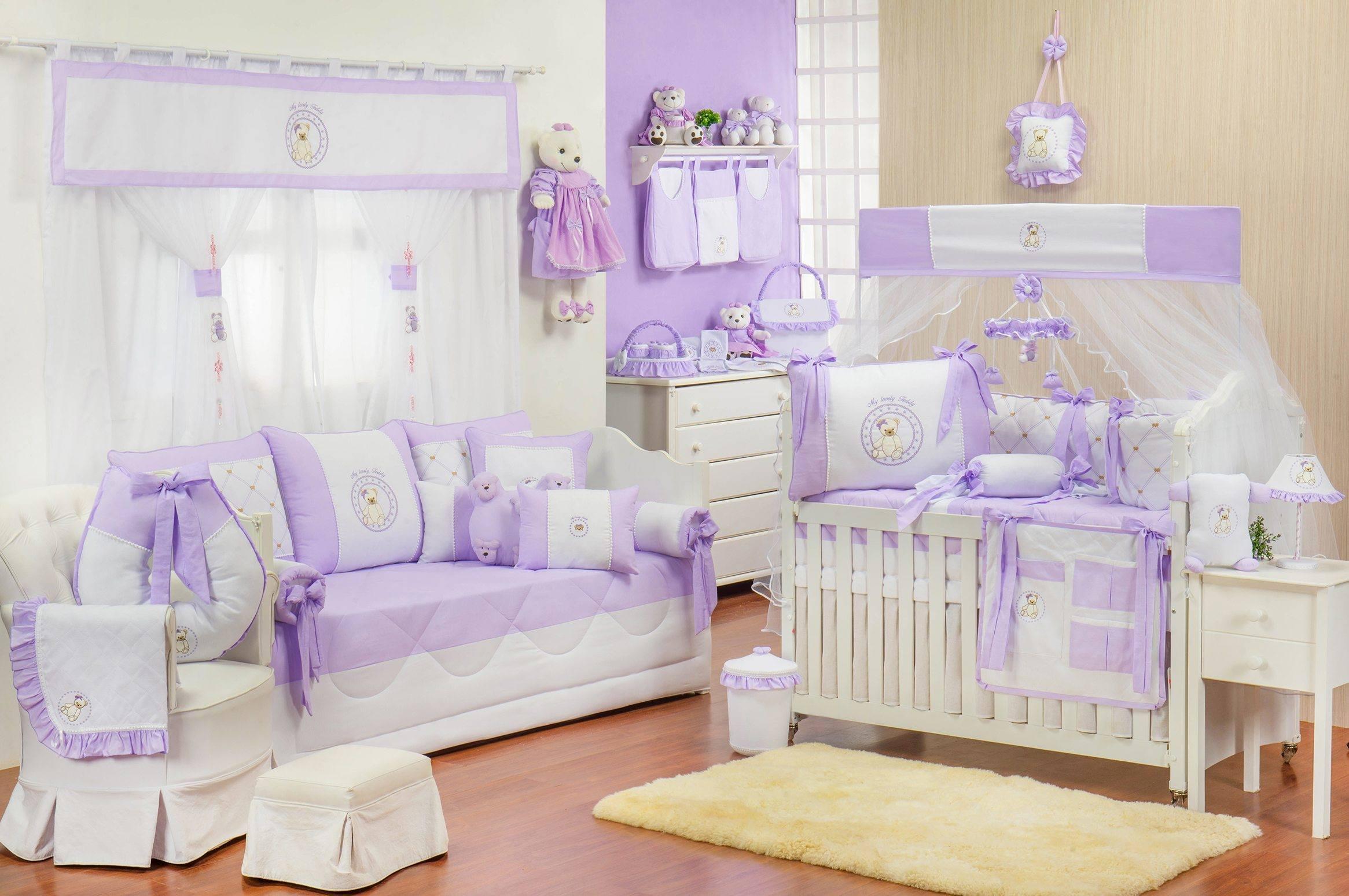 Quarto para Bebê Teddy Lilás  Ref: 50357
