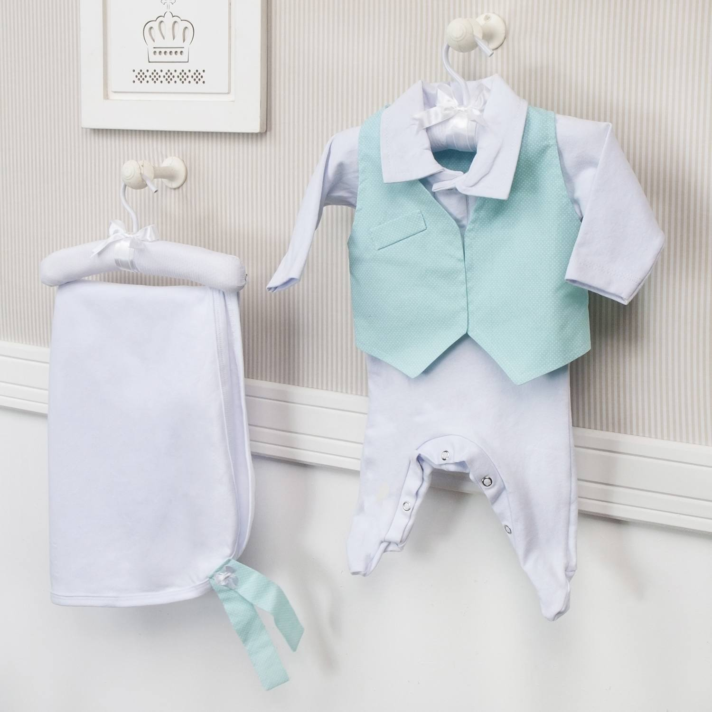 Saída Maternidade Poá Azul - Ref: 56573