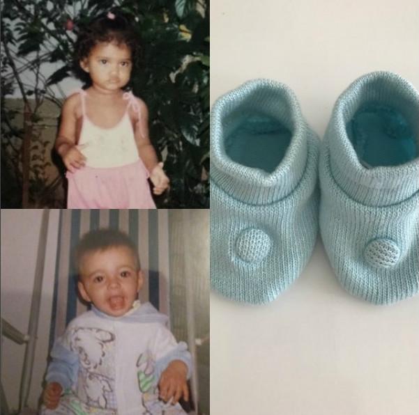 Post da atriz Aline Dias revelando o sexo do bebê: menino