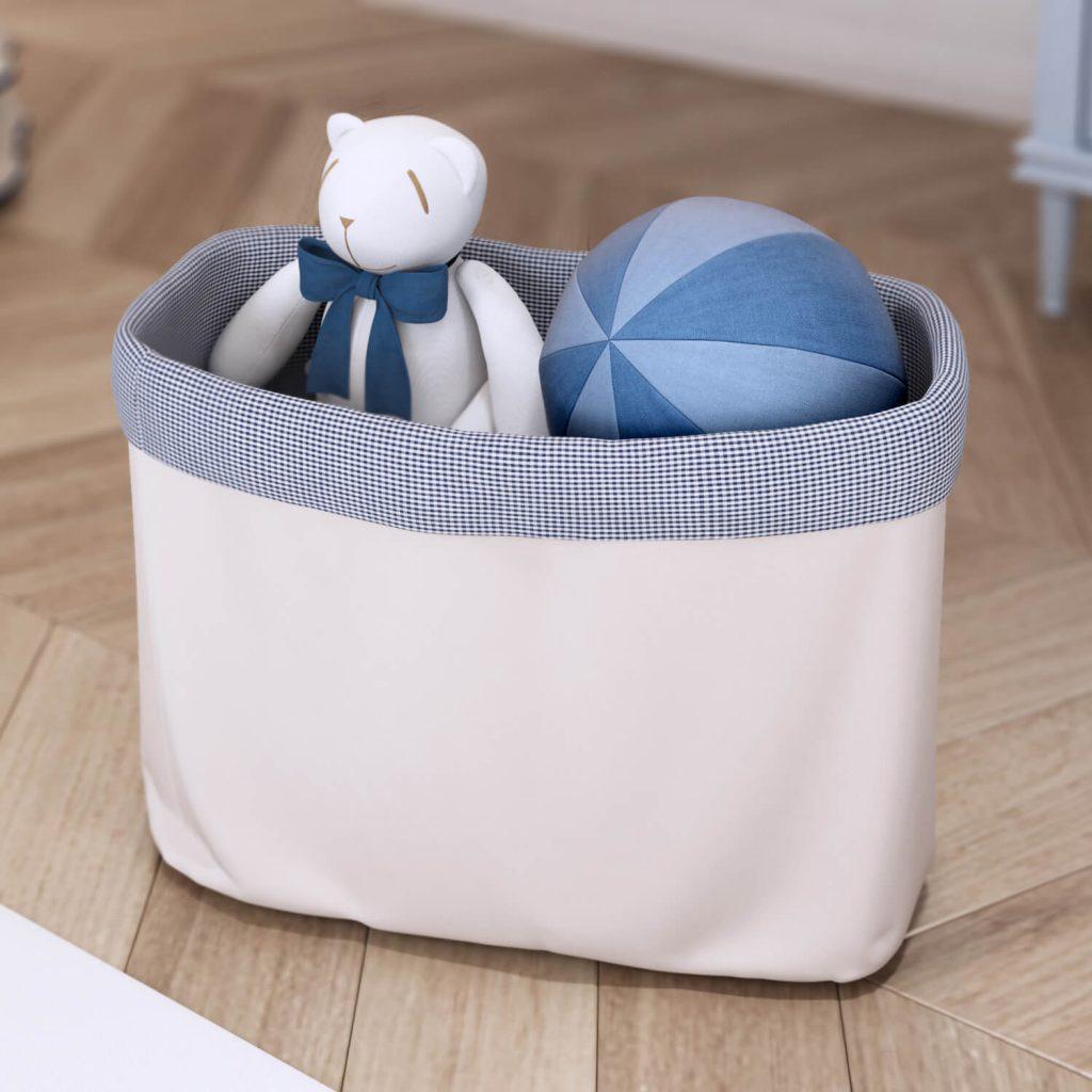 Cestos Organizadores de Brinquedos Ursinho Clássico Azul Marinho