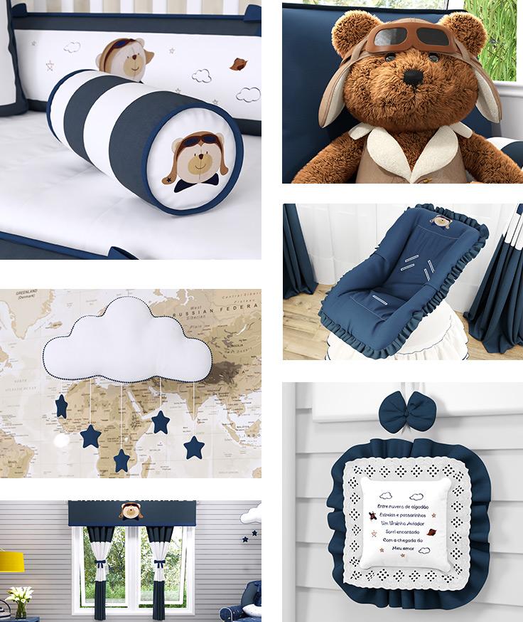 Quarto de Bebê Urso Aviador: design