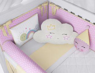 kit berço nuvem rosa