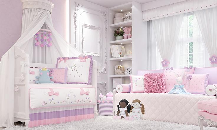 floral monet quarto de bebê lilás