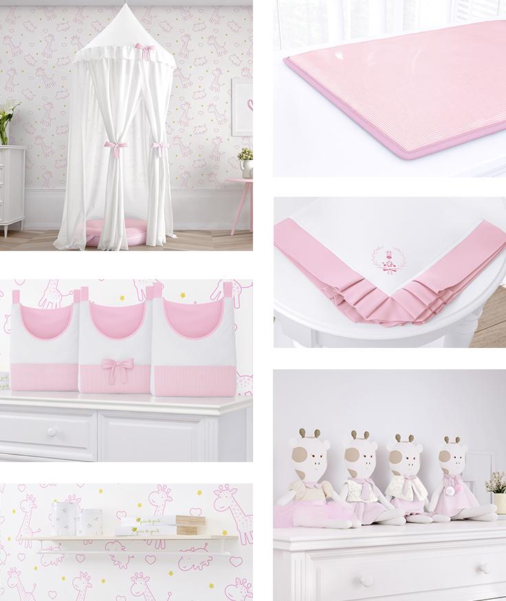 quarto de bebê girafinha clássica rosa