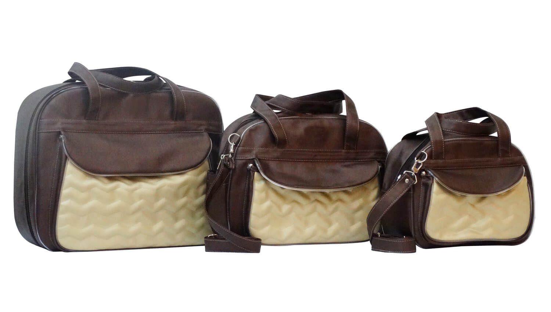 bolsas maternidade masculina - Conjunto de Bolsas Maternidade Chevron Café