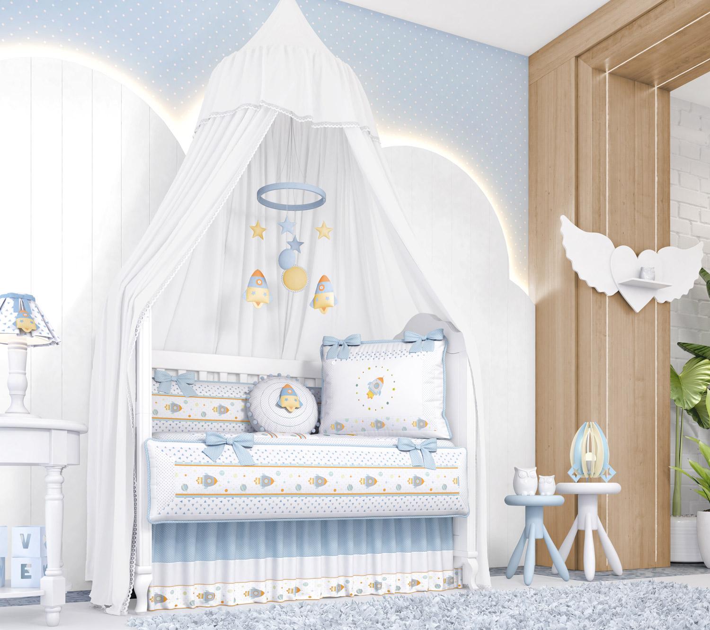quarto de bebê patchwork azul