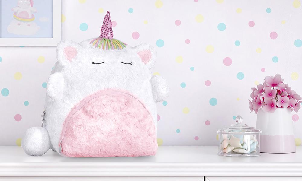 mochila infantil unicórnio rosa