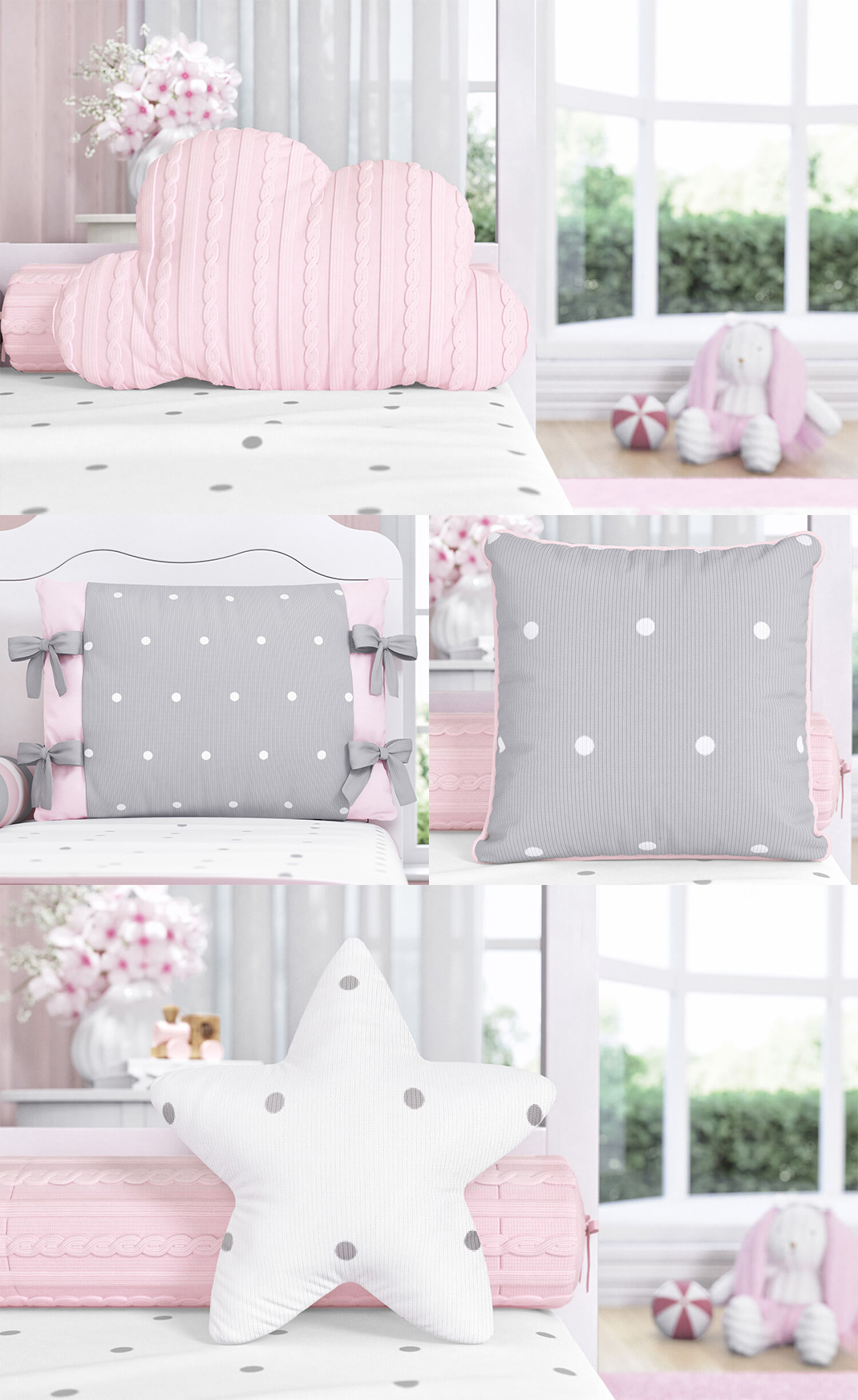 almofadas tricot poá rosa