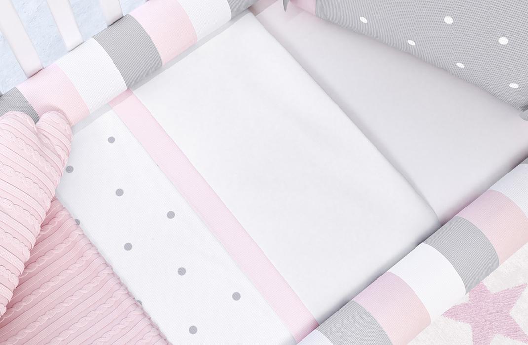 kit berço tricot poá rosa