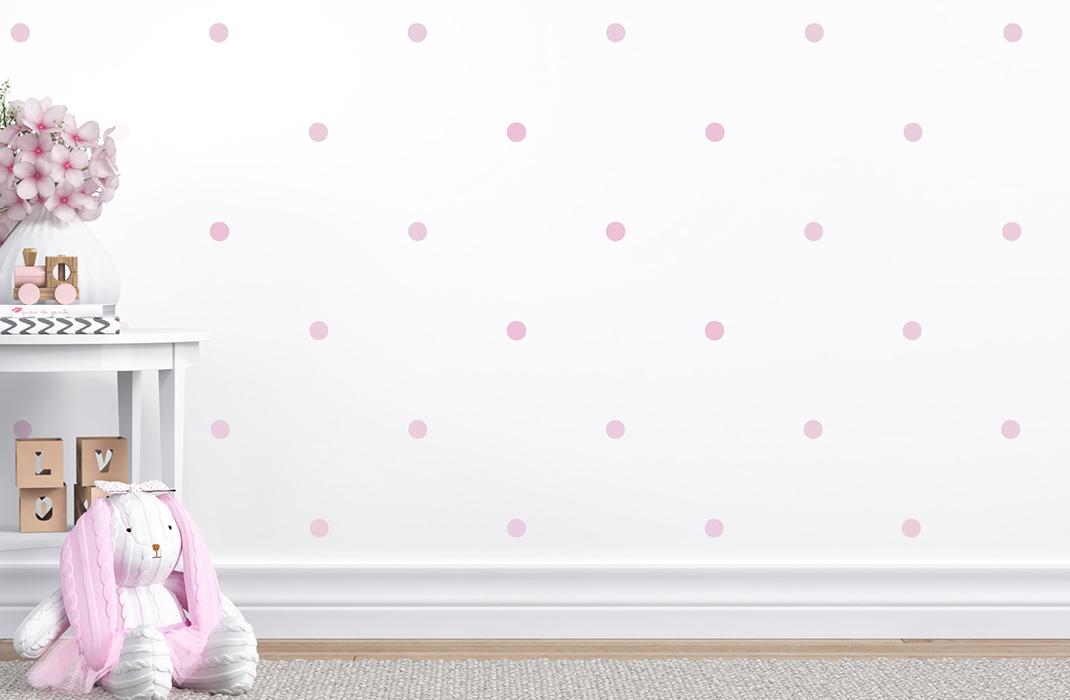 papel de parede de bolinhas tricot poá rosa