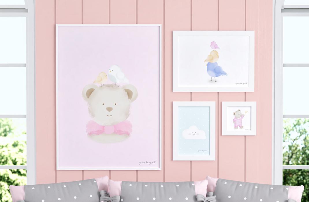 quadros tricot poá rosa