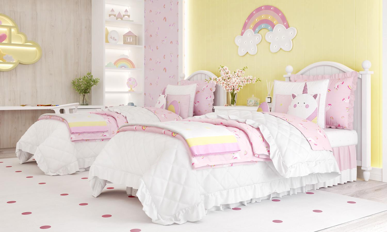 amiguinhas-unicornio-rosa-infantil quarto completo