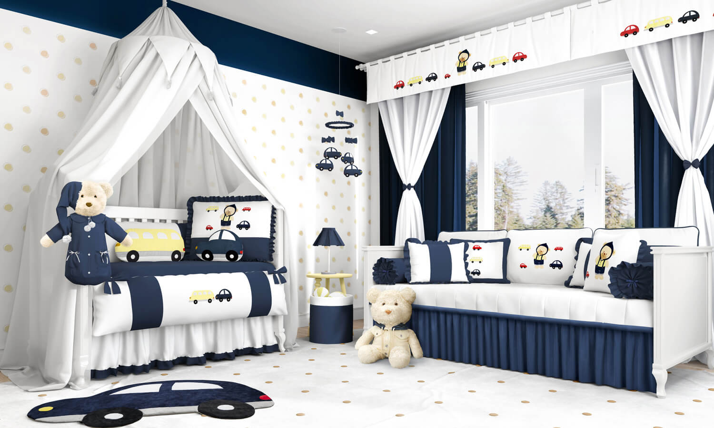 quarto de bebê azul marinho
