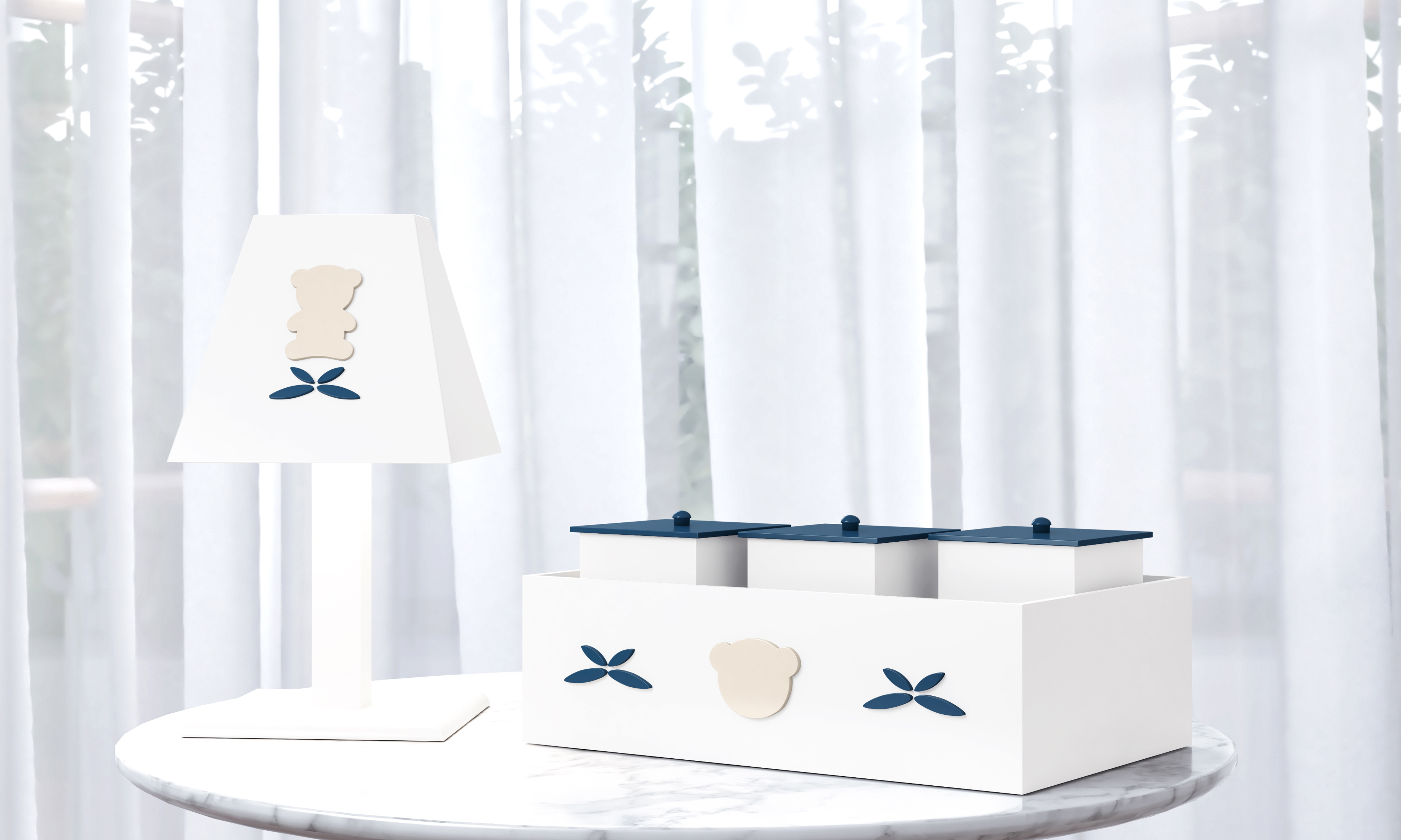 Luxo Branco e Azul Marinho