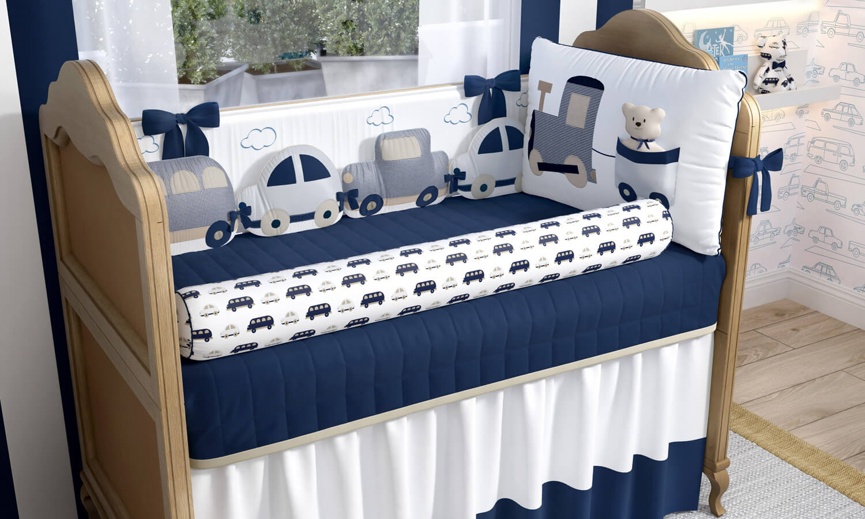 kit berço azul marinho