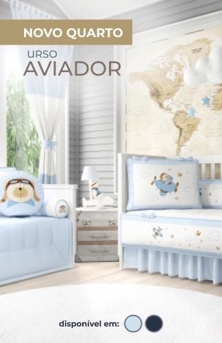 Urso Aviador Azul Bebê
