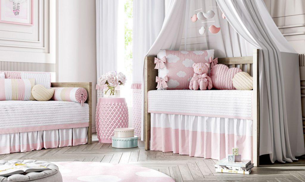 quarto de bebê tricot nuvem rosa