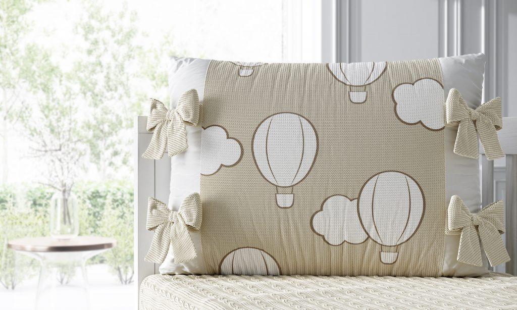 quarto de bebê tricot poá balão bege