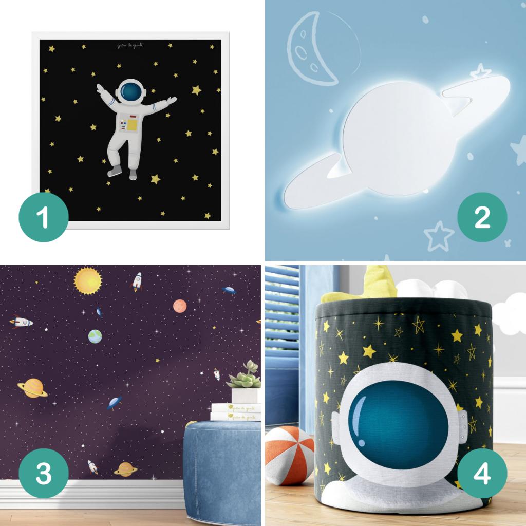 Tema espacial: itens de decoração